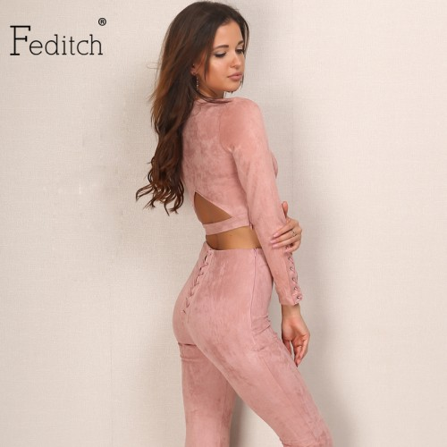 Feditch Suede Women Jumpsuit Back Hollow Rompers Women Fashion Bodycon Combinaison Femme Solid Lady