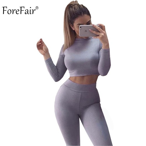 ForeFair Black Grey Khaki 2 Piece Bodycon Jumpsuit Long Sleeve Crop Top Pants Style Bodysuit