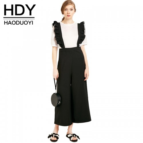 HDY Haoduoyi Autumn Fashion Womens Solid Black Ruffle Patchwork Casual Jumpsuit Sleeveless Wide Leg Rompers