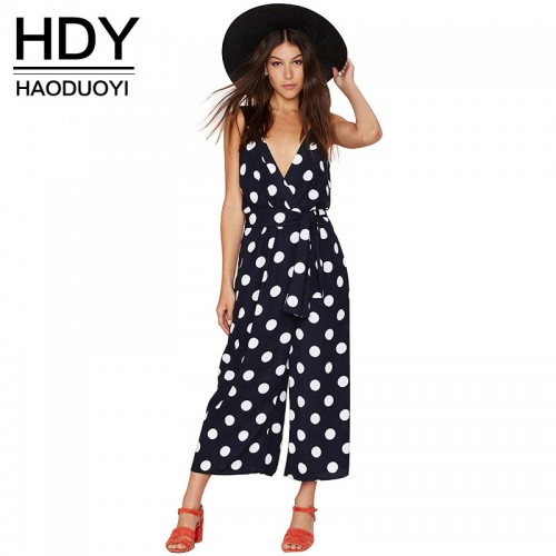 HDY Women Autumn v neck Backless Jumpsuits Dot Print Waisted Lady Rompers for wholesale and