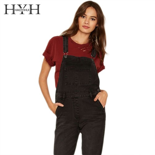 HYH HAOYIHUI Solid Black Women Jumpsuit Adjustable Strap Button Pockets Overall Jumpsuit Preppy Style Casual Denim