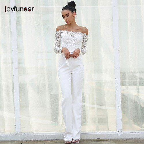 Joyfunear Lace Summer Rompers Womens Jumpsuit Ladies Casual Elegant Off shoulder Long Trousers Overalls