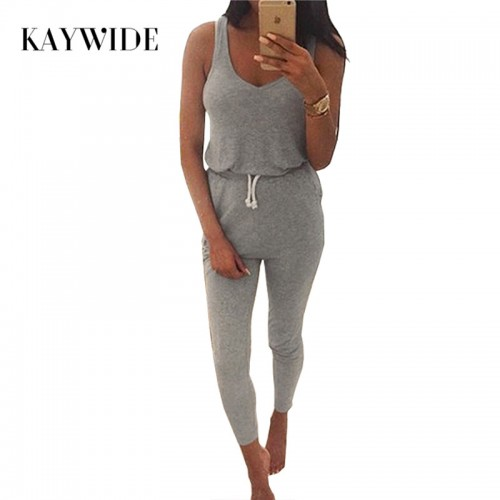 KAYWIDE New Summer Low Cut Rompers Womens Jumpsuit Black Elastic Waist Sleeveless Long Pants Playsuit