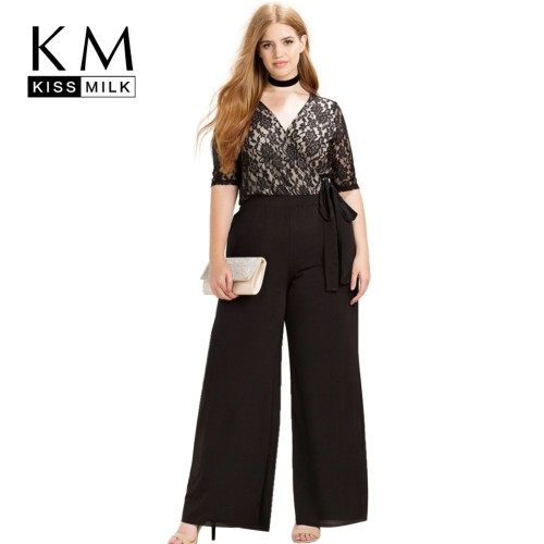 ccb9061667ea1 Kissmilk Women Plus Size Clothing Casual Black Surplice Wrap Lace Patchwork  Jumpsuits Rompers Pants Big Size