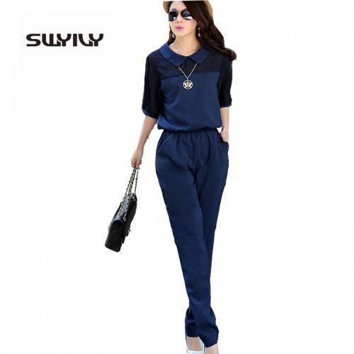 Large Size 3XL 4XL Summer Jumpsuits One Piece Pants Lapel Elegant Salopette Blue Long Trousers