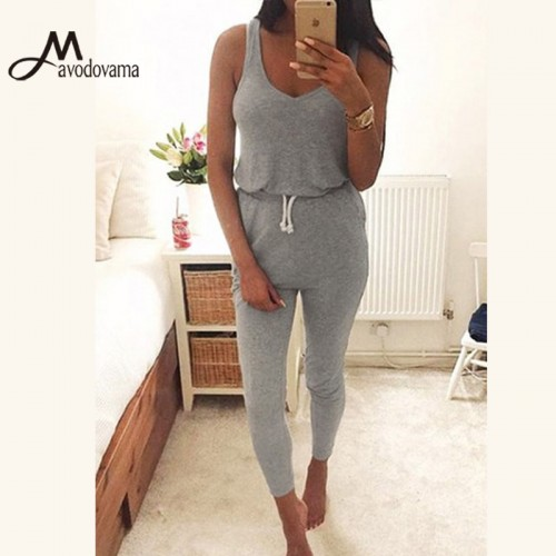 Mavodovama Casual Summer Fashion Women Romper Vest Sleeveless Slim Waist Overalls Jumpsuit