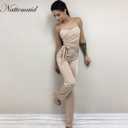 NATTEMAID Autumn rompers womens jumpsuit women Bandage strapless slash neck Bodycon overalls Solid club Rompers