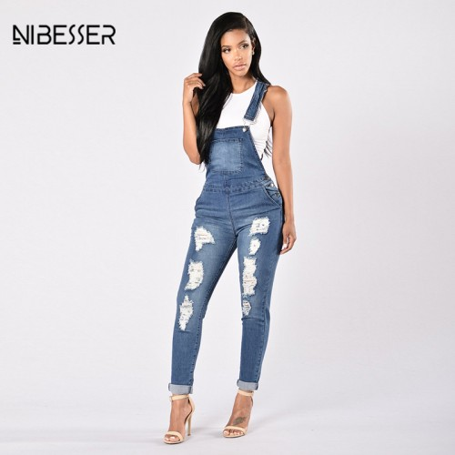 NIBESSER Ripped Hole Hollow Out Jumpsuits Women Casual Blue Long Jeans Jumpsuits Female Fashion Autumn