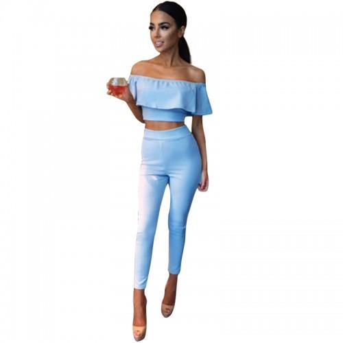 Rompers Womens Two Piece Bodycon Jumpsuit Bodysuit Club Wear Jumpsuit Ruffle Off Shoulder Combinaison Femme