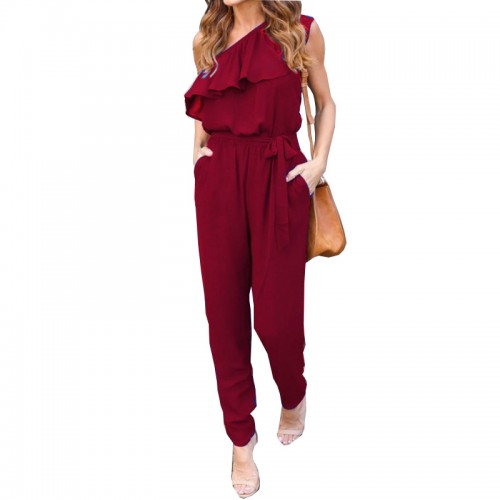 Ruffles Chiffon Jumpsuits Plus Size Overalls Summer Women Casual One Shoulder Long Playsuits Rompers Womens