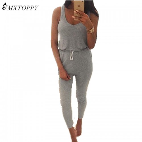 Summer Low Cut Rompers Womens Jumpsuit Black Elastic Waist Sleeveless Long Pants Playsuit Strap Pocket