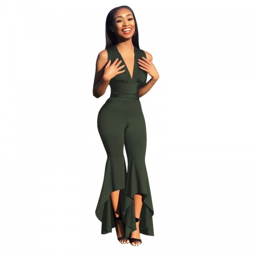 Summer Style Sleeveless Deep V Jumpsuit Women High Waist Flare Pants Overalls 4 Colors Solid