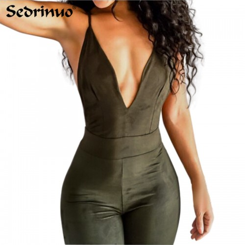 Summer Women Party Bodycon Jumpsuit Deep V neck Cross back strappy bodysuit overalls bandage