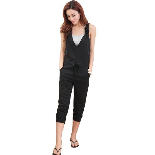 Summer style deep v neck cross backless women jumpsuit plus size ladies sleeveless black overalls and