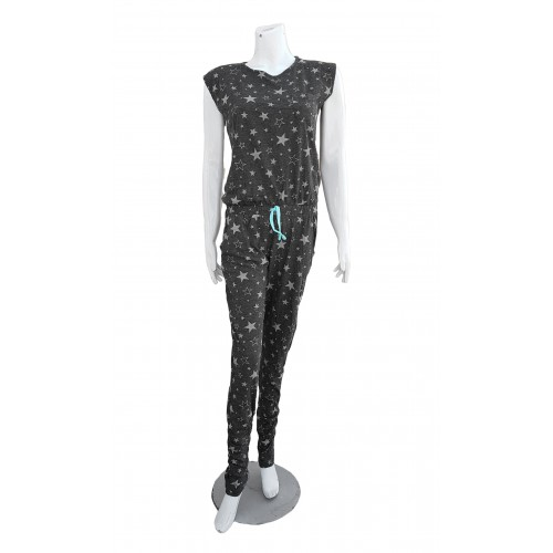 Women Fashion Dark Grey Star Casual Jumpsuit Summer Jumpsuit High Quality