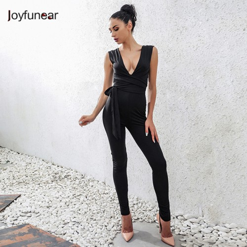 Women Bodysuit  Rompers Jumpsuit Deep V neck Full Rompers With Belt