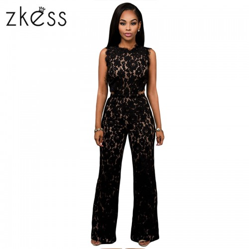 d9411f407f9 Zkess Black Lace Long Pants Women Rompers Belted Solid Elegant Jumpsuit