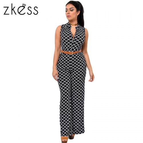Zkess Jumpsuit Long Pants Women Rompers Sleeveless XXL V neck Belt Solid Night Club