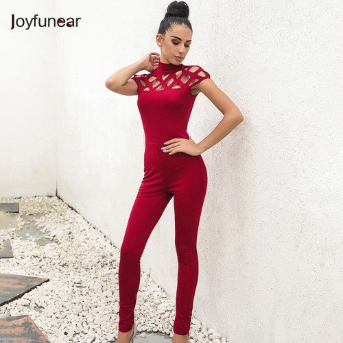 new high neck cut out bandage bodysuits one piece sets wholesale Long Sleeve hollow