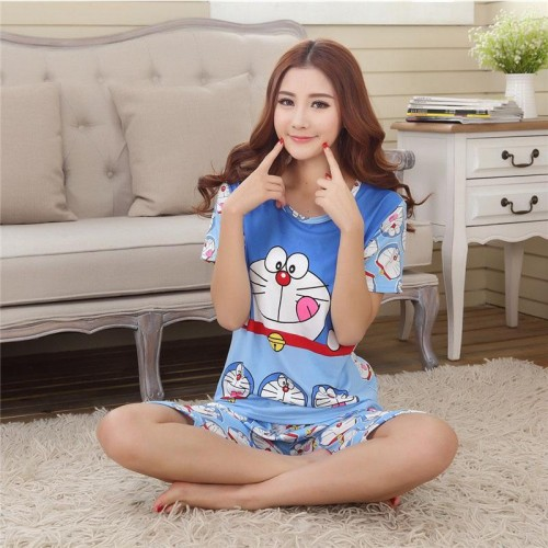 Cute Printed 2 Piece T shirt Shorts Set for Sleepwear (1)