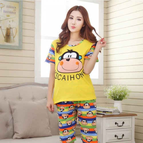 Cute Printed 2 Piece T shirt Shorts Set for Sleepwear (2)