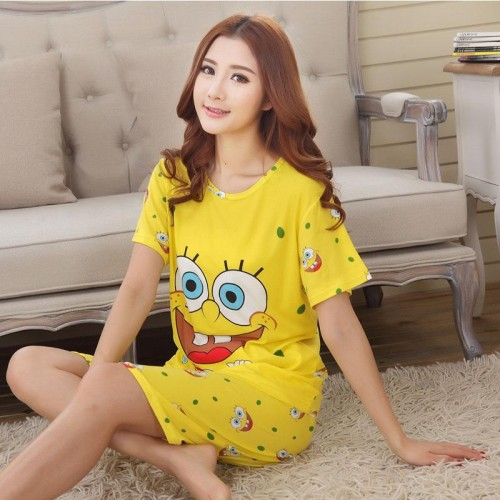 Cute Printed 2 Piece T shirt Shorts Set for Sleepwear (3)