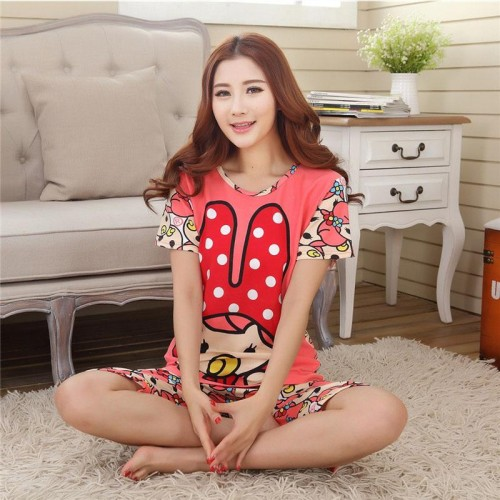 Cute Printed 2 Piece T shirt Shorts Set for Sleepwear (4)