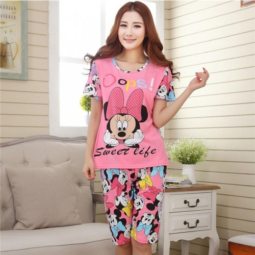 Cute Printed 2 Piece T shirt Shorts Set for Sleepwear (5)