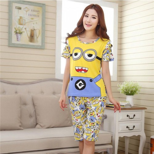 Cute Printed 2 Piece T shirt Shorts Set for Sleepwear (6)