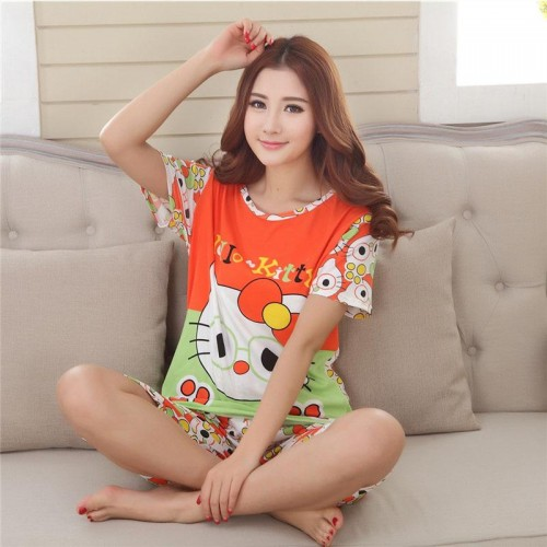 Cute Printed 2 Piece T shirt Shorts Set for Sleepwear (7)