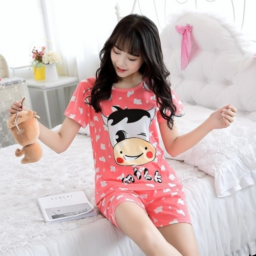 Women Short Sleeve Thin Cotton Loose Sleepwear (23)