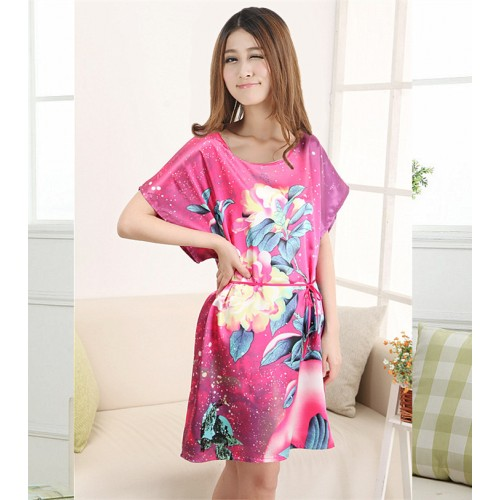 Summer Robe Chinese Silk Rayon Nightgown (17)