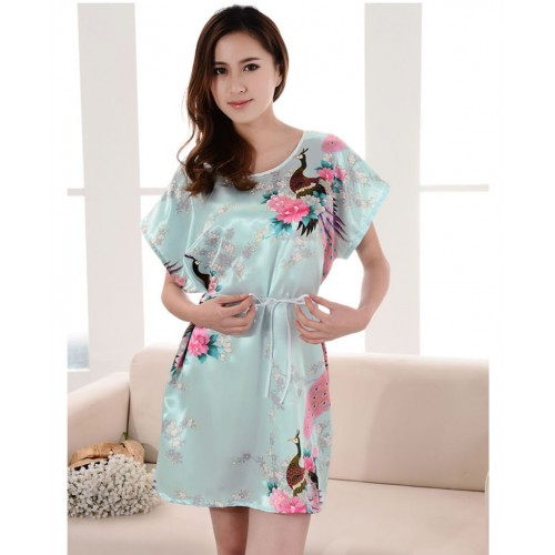 Summer Robe Chinese Silk Rayon Nightgown (7)