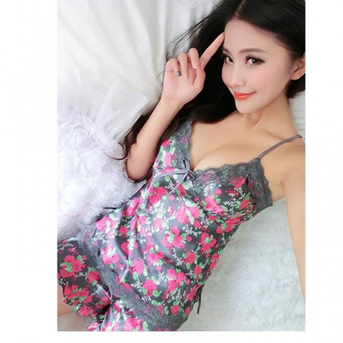 Women Pajamas Imitated Silk Lace Floral Printed Robe Sleepwear Lingerie Nightdress Tops Pants Set