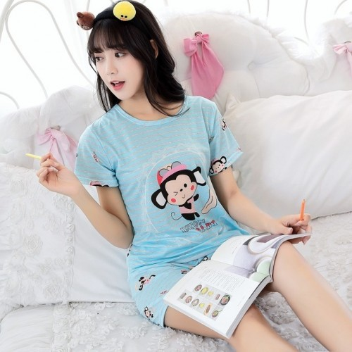 Women Short Sleeve Thin Cotton Loose Sleepwear (13)