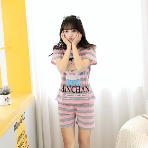 Women Short Sleeve Thin Cotton Loose Sleepwear (16)