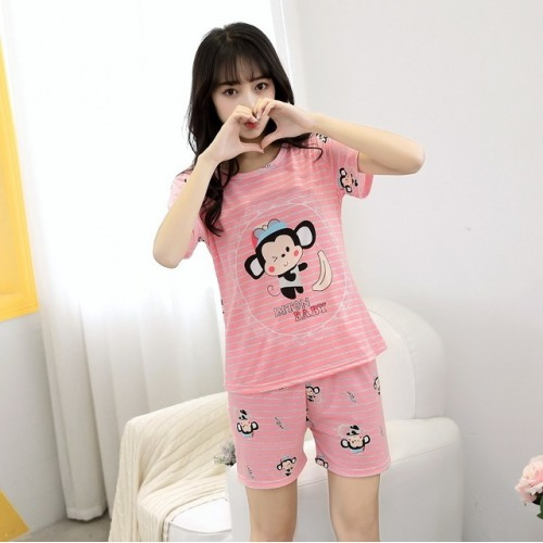 Women Short Sleeve Thin Cotton Loose Sleepwear (17)