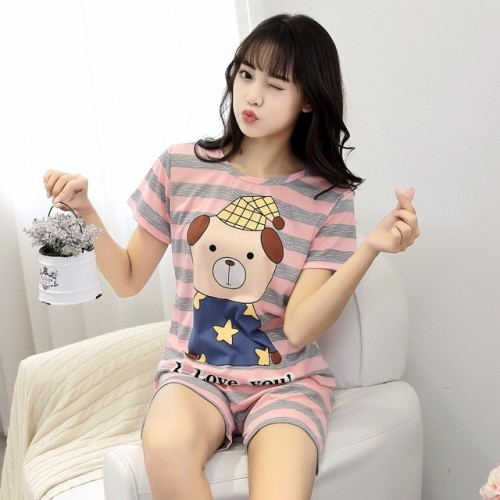 Women Short Sleeve Thin Cotton Loose Sleepwear (3)