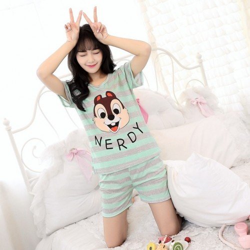 Women Short Sleeve Thin Cotton Loose Sleepwear (5)