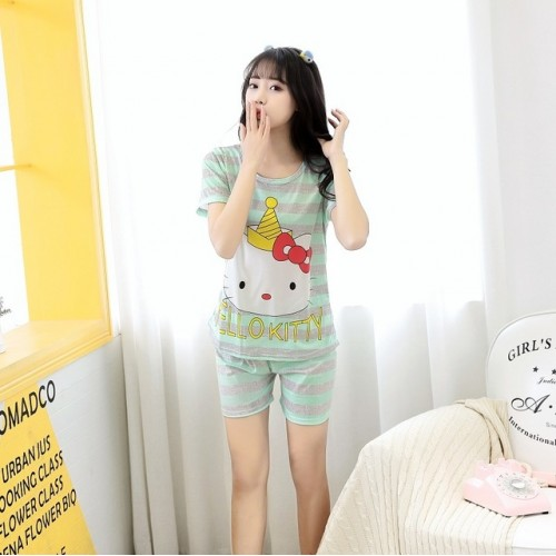 Women Short Sleeve Thin Cotton Loose Sleepwear (6)