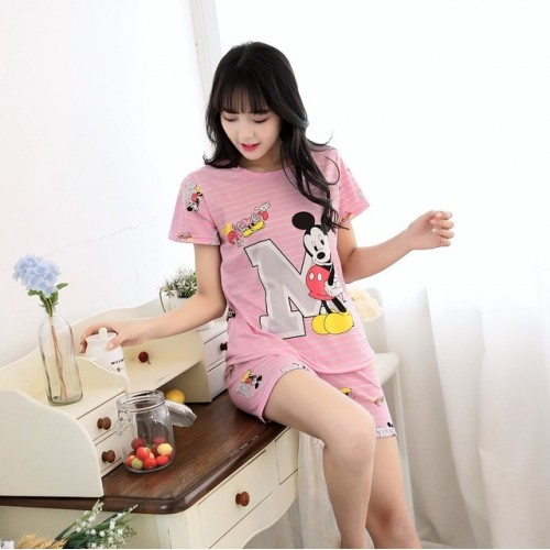 Women Short Sleeve Thin Cotton Loose Sleepwear (7)