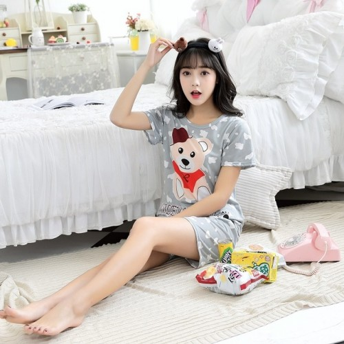 Women Short Sleeve Thin Cotton Loose Sleepwear (8)