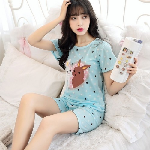 Women Short Sleeve Thin Cotton Loose Sleepwear (9)