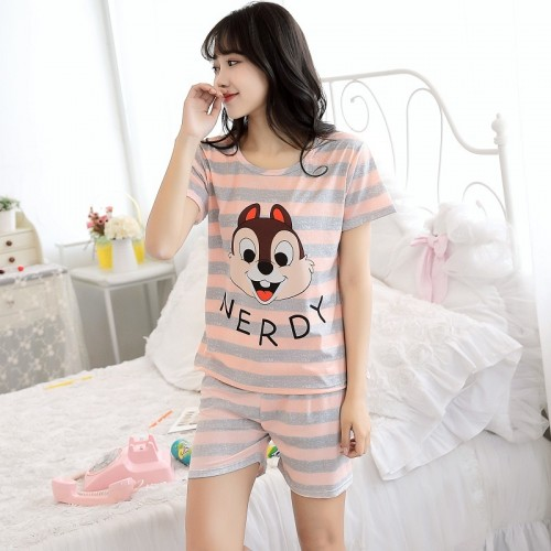 Women Short Sleeve Thin Cotton Loose Sleepwear (22)