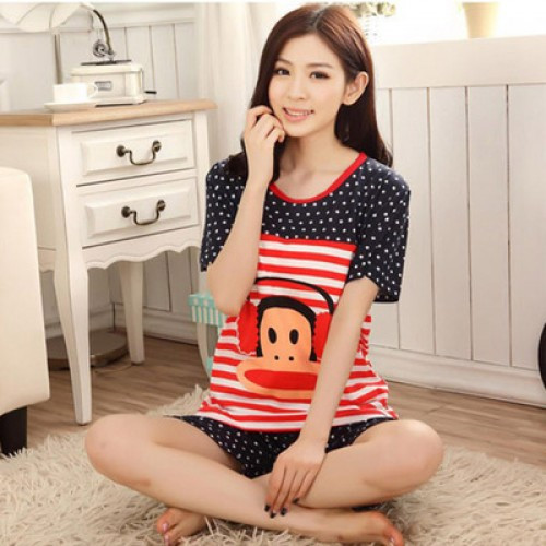 Women Summer Short Sleeve Thin Cotton Loose Sleepwear (1)