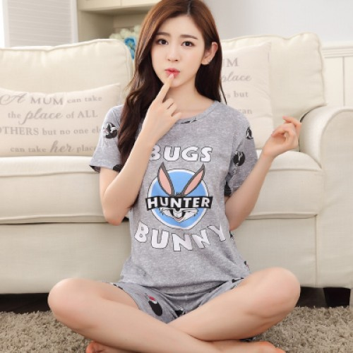 Women Summer Short Sleeve Thin Cotton Loose Sleepwear (12)