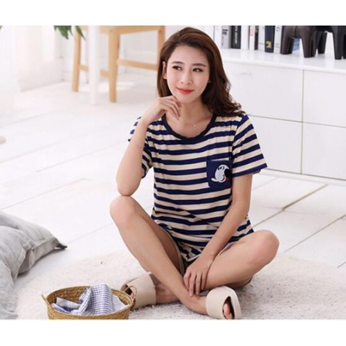 Women Summer Short Sleeve Thin Cotton Loose Sleepwear (15)