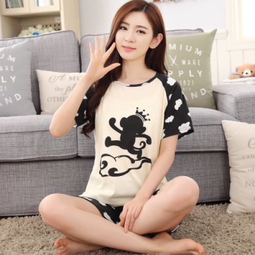 Women Summer Short Sleeve Thin Cotton Loose Sleepwear (6)