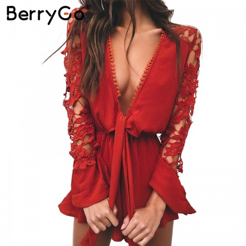 BerryGo v neck lace summer jumpsuit romper Women hollow out black short playsuit Elegant bow