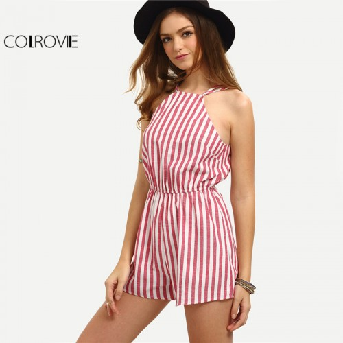 COLROVIE Sleeveless Summer Style Beach Rompers Women Jumpsuit Ladies Vertical Stripe Backless Cutaway Rompers
